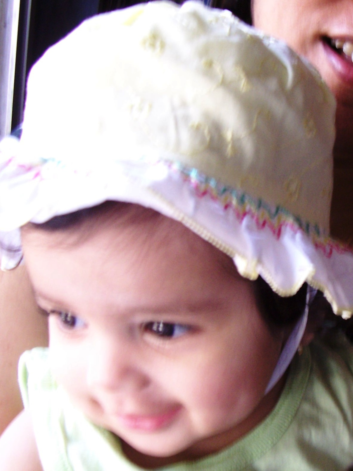 dimple.jpg - When you're a baby, you get to wear a hat even when you're not in the sun, what fun!